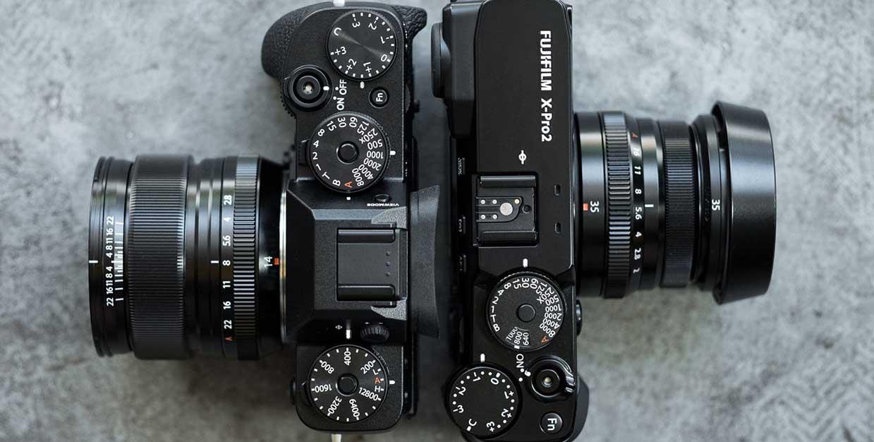 X-T2 en X-Pro2 in bovenaanzicht