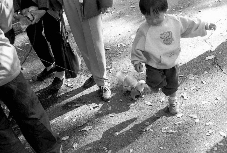 Zwart-wit foto van een gezelschap met een klein knaagdier aan de leiband