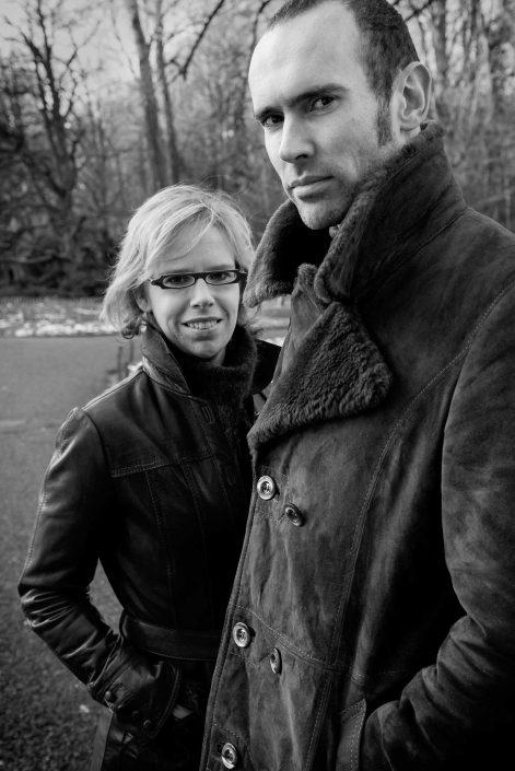 Zwart-wit foto van Fried'l en Pieter Lesage